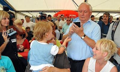 Oskar Lafontaine, candidato de Die Linke en Sarre