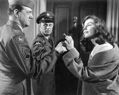 Karl Malden, Richard Widmark y Elaine Stewart en Hombres de infantería (1953)