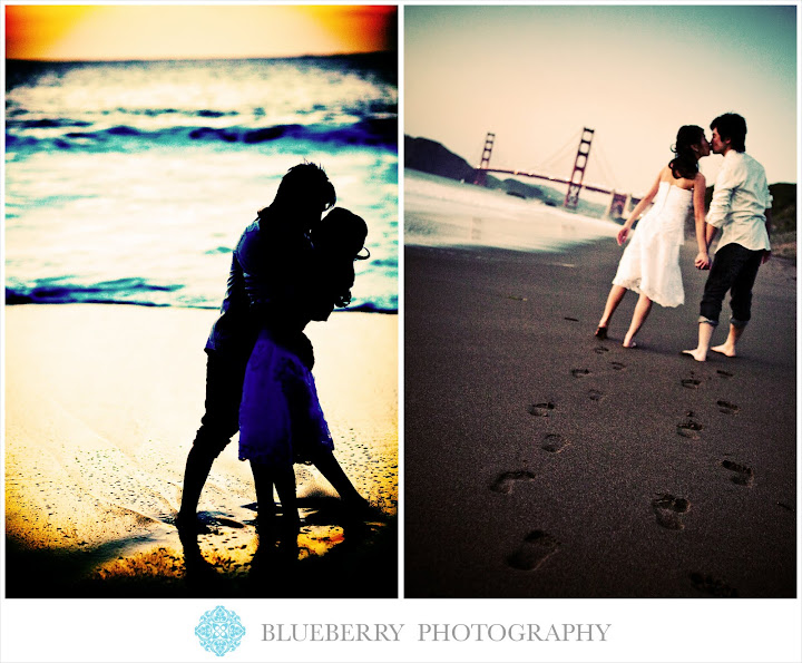 san francisco baker beach romantic sunset engagement photographer
