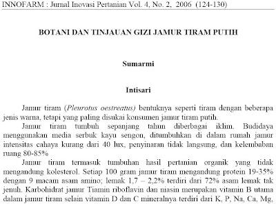 TINJAUAN GIZI JAMUR TIRAM PUTIH | all about Biology