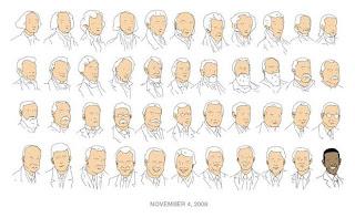 Caricatura con el rostro de los 44 presidentes que ha tenido Estados Unidos desde George Washington (el primero a la izquierda)