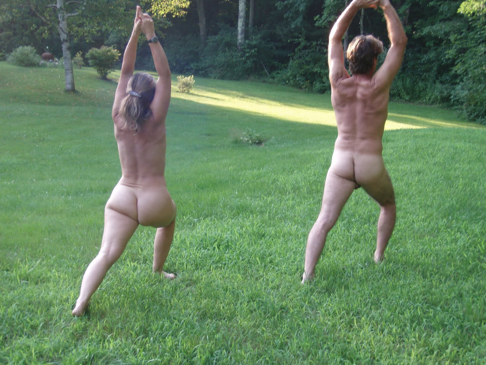 Nude yoga for couple