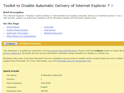 Toolkit to Disable Automatic Delivery of Internet Explorer 7