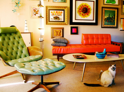 Retro decor furniture vintage room for Retro style living room ideas