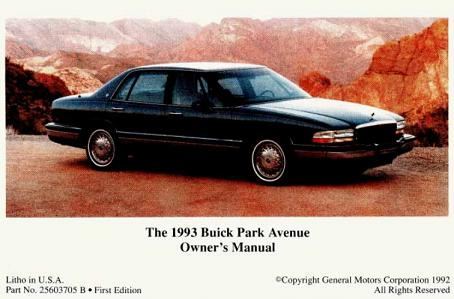 1993 Buick Park Avenue Owners Manual Buick