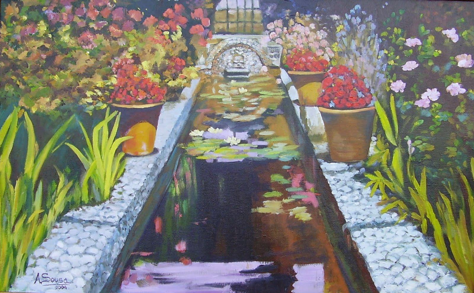 Pinturas de sousa estanque de jard n for Pintura para estanques
