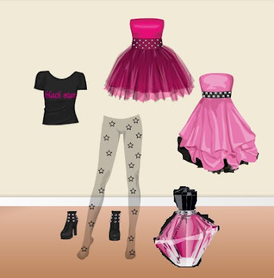 There is a black star Avril Lavigne dress up contest, when you enter you get
