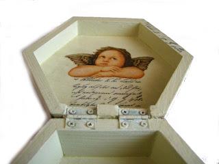 pudełko decoupage - anielskie listy