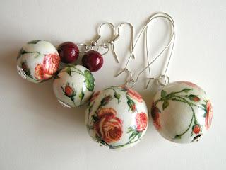 kolczyki decoupage - różany ogród