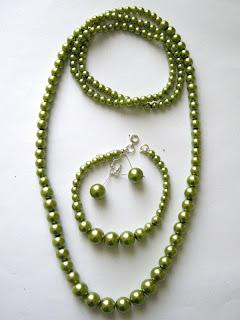 biżuteria z półfabrykatów - perły wersja 2 (zielony komplet)