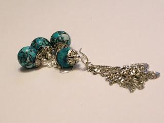 biżuteria z półfabrykatów - niebieski howlit (komplet)