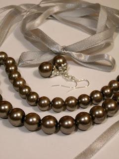 biżuteria z półfabrykatów - szare perły (komplet)