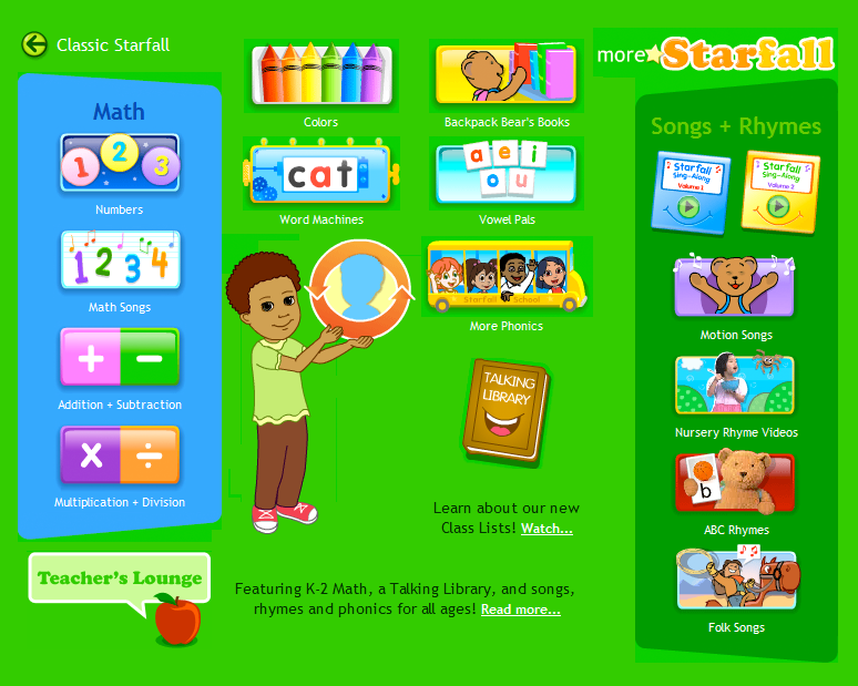 more starfall games for children