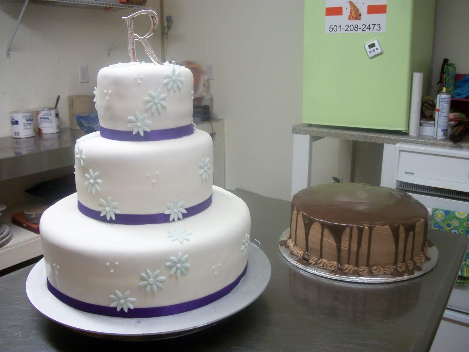Tasty Cakes Purple & Blue Wedding Cake Chocolate Ganache