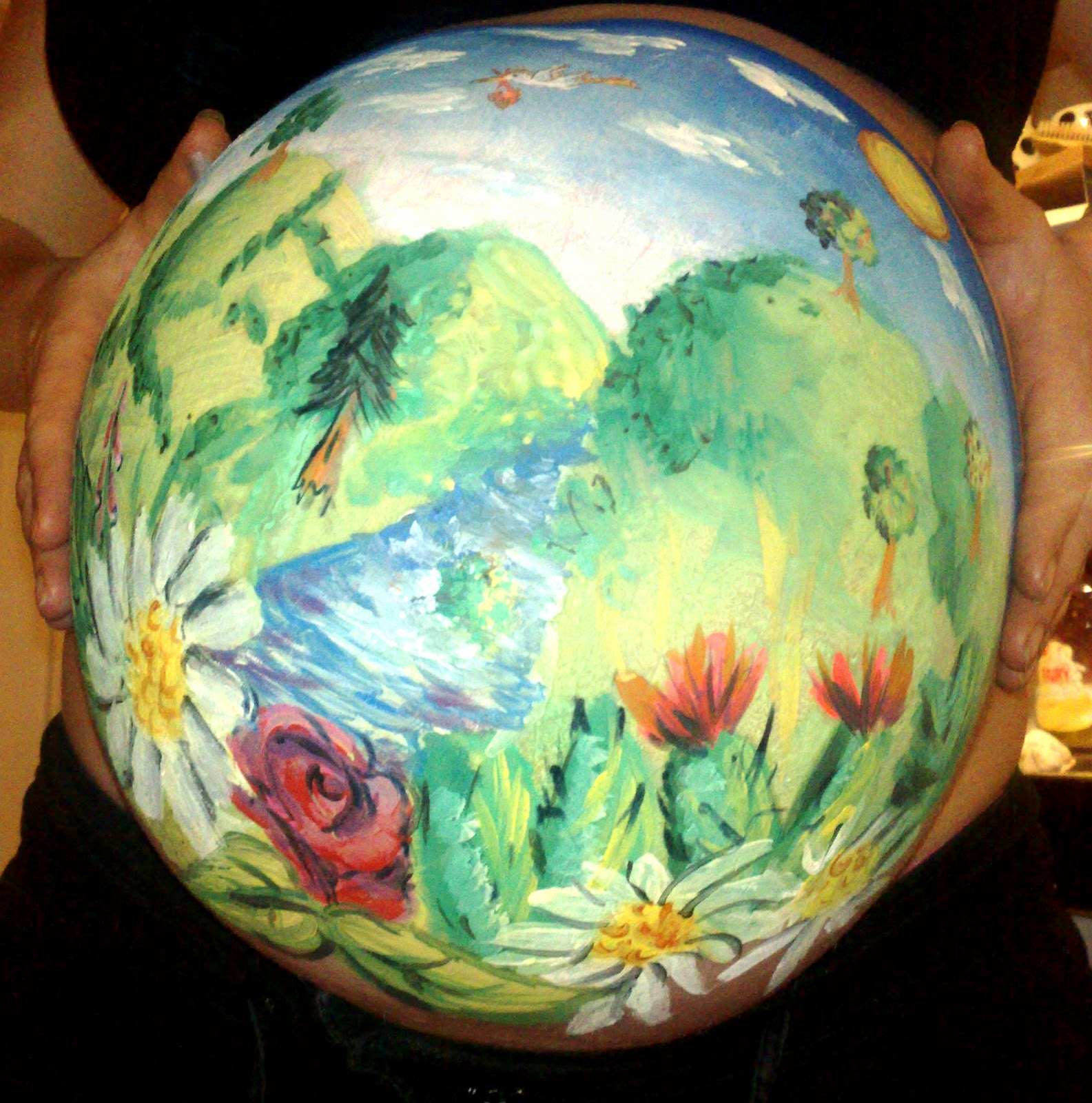 Pregnant belly painting for Maternity belly painting