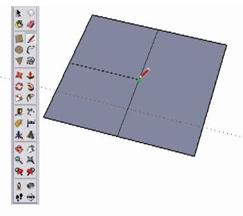 SketchUp final step to divide rectangle into 4 equal rectangles