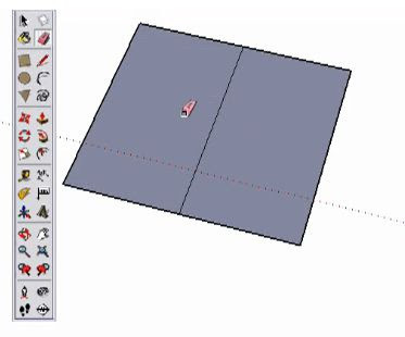 SketchUp divide rectangle into 2 equal part