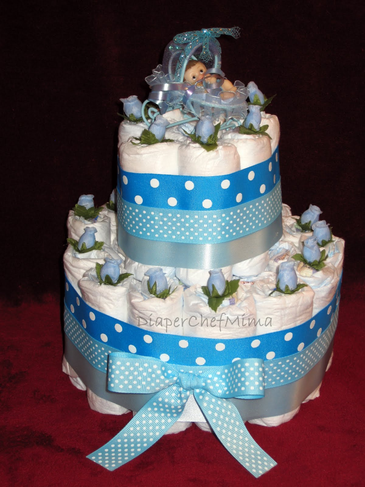 Baby Shower Diaper Cake Centerpieces