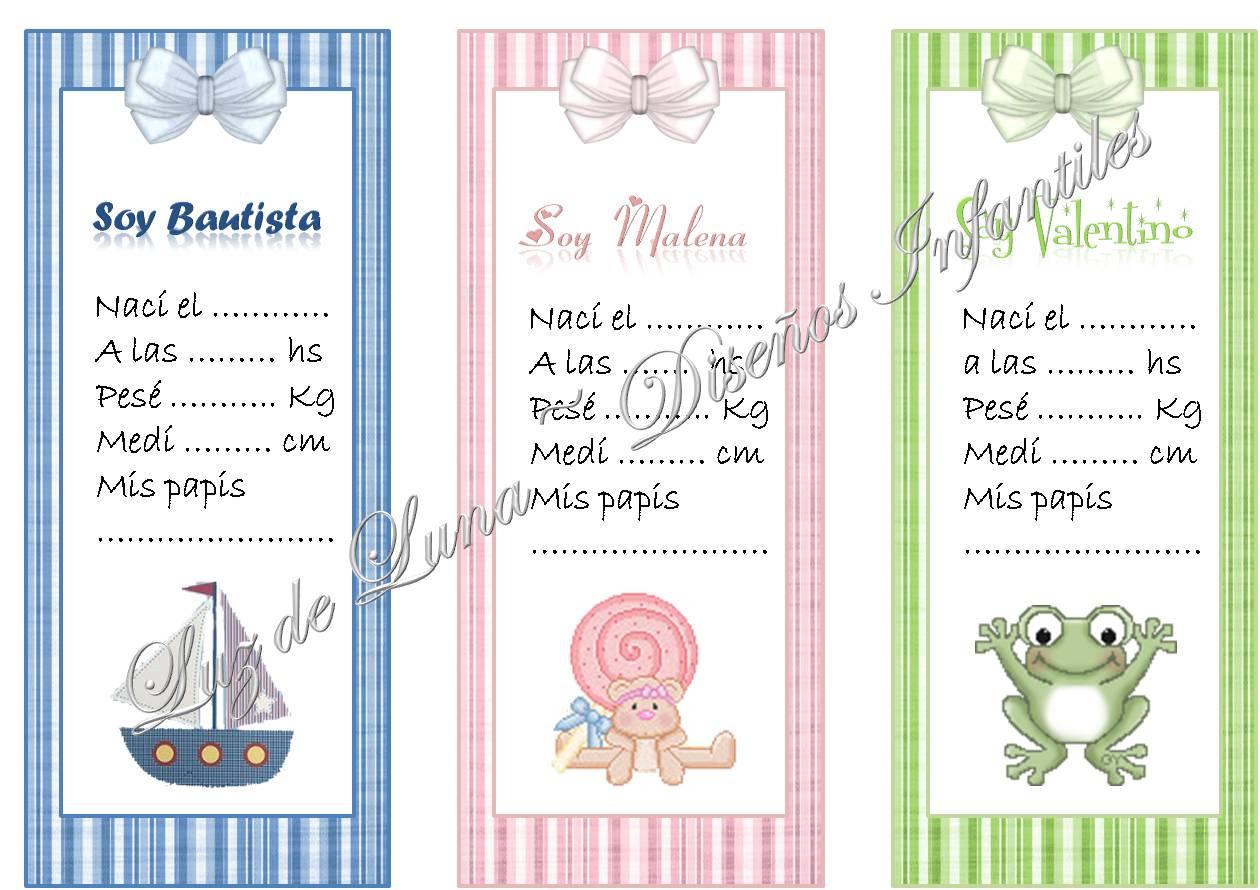 Tarjetitas para souvenirs de nacimiento para imprimir - Imagui