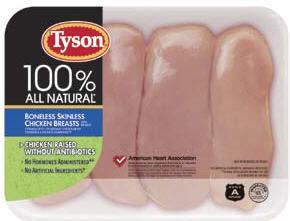 Tyson Foods chicken Rasied Without Antibiotics label