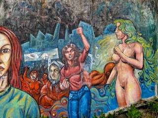 Women's Mural with Nude woman Ushuaia Argentina