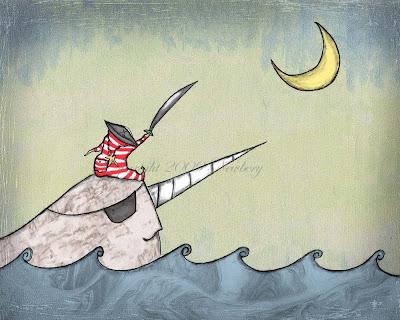 Ahoy Moon Pirate Art Print
