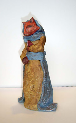 Fox Folk Art Clay Sculpture
