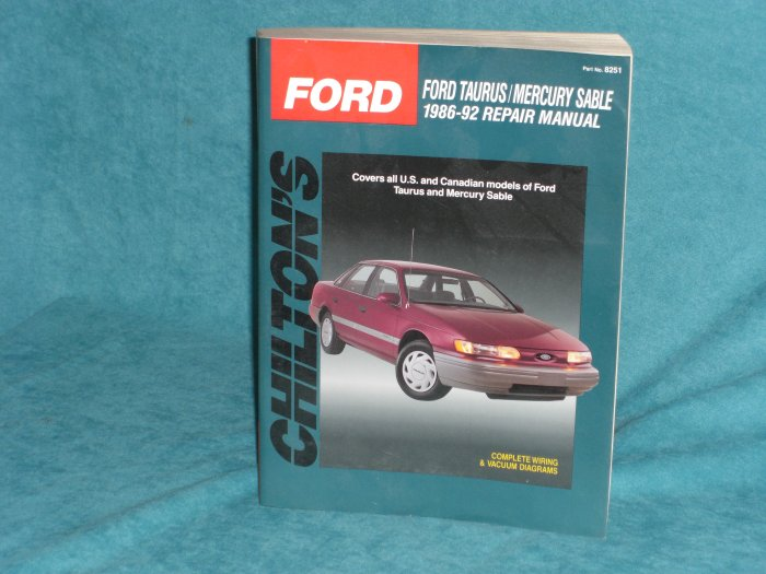 Bargain Cart  Chilton U0026 39 S Ford Taurus  Mercury Sable 1986