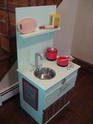 Diy play kitchen from night stand for Diy play kitchen ideas