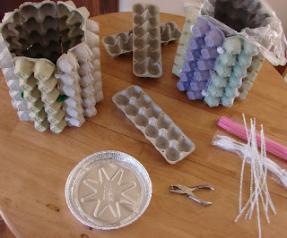 Handmade moon egg carton waste baskets for Create things from waste