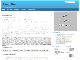 clearblue template, clear blue blogger themes, css templates