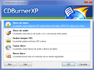 CDBurnerXP Seleccione una accion
