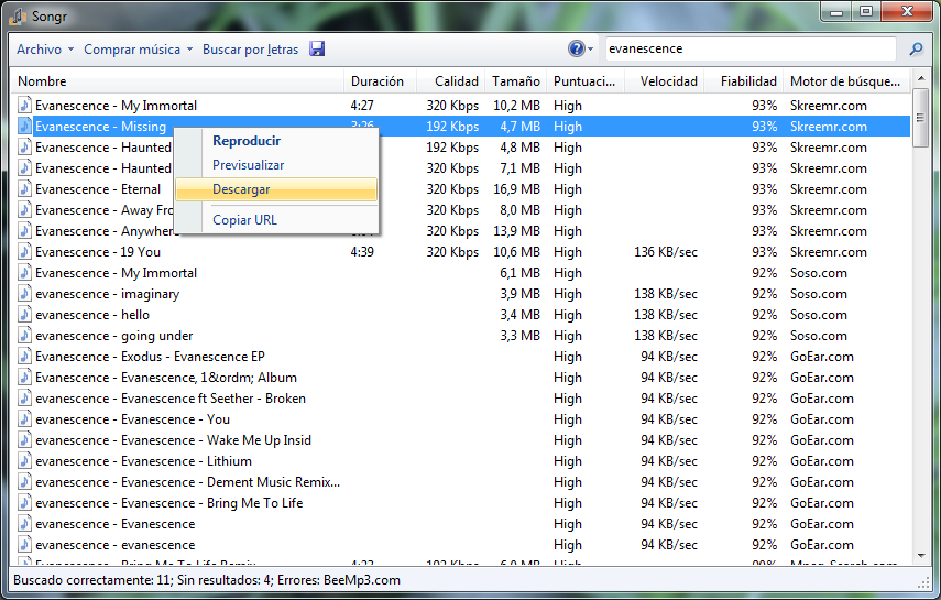 mp3 para descargar a mi pc: