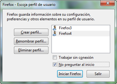 Imagen: Firefox - Escoja Perfil de Usuario