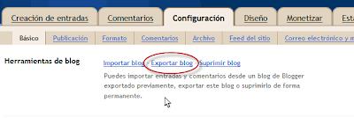 Imagen: Exportar blog