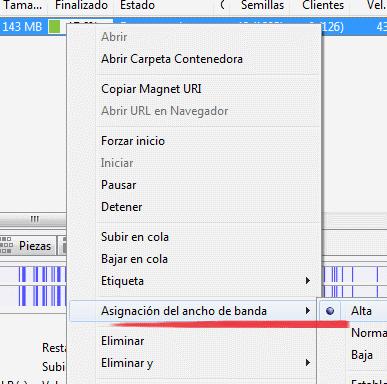 Imagen: Asignar ancho de banda al torrent en uTorrent
