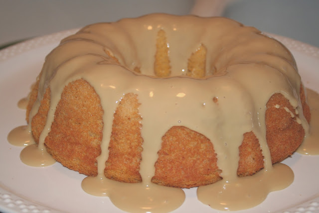 Pumpkin Angel Food Cake with Maple Glaze