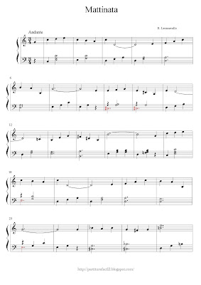 Free easy piano sheet music of Ruggero Leoncavallo: Mattinata