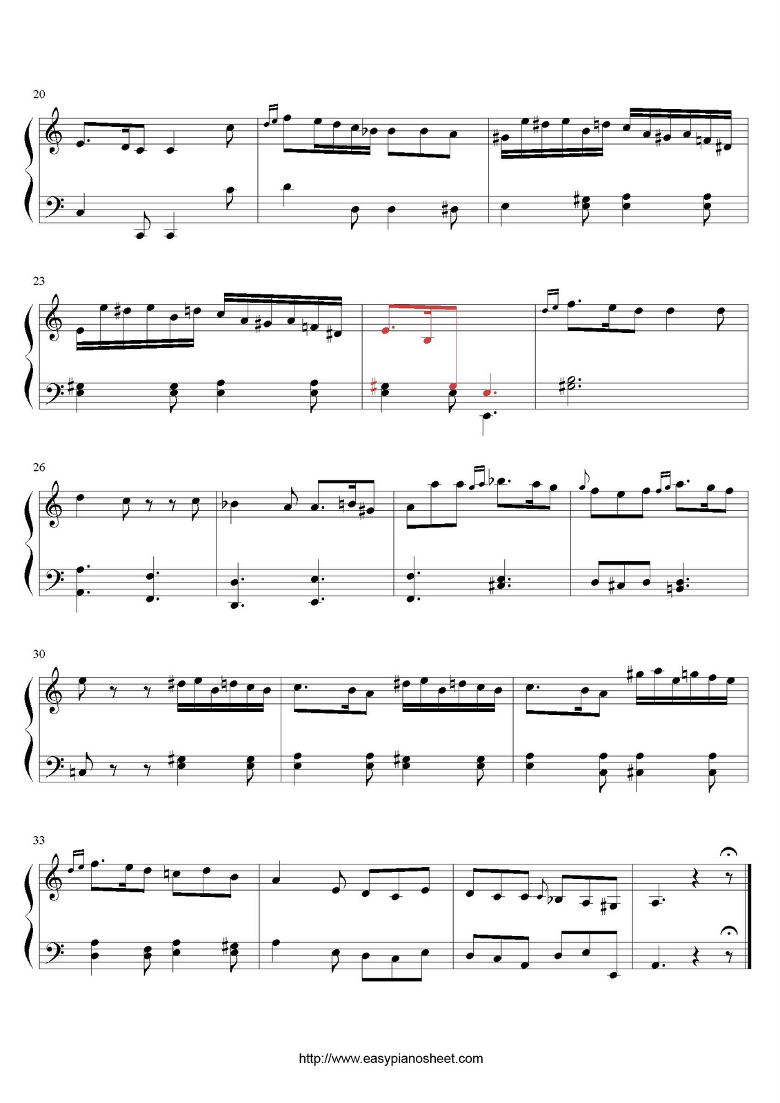 Partitura de piano gratis de Domenico Cimarosa: Sonata