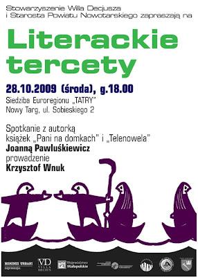 Spotkanie literackie, Literackie Tercety Joanna Pawluśkiewicz, Literatura Nowy Targ