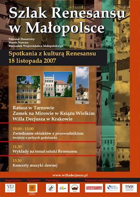 Szlak Renesansu w Małopolsce plakat 2007