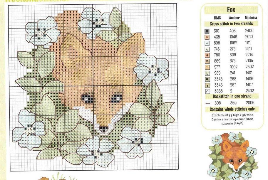 Схемы для вышивки крестом лисички 687