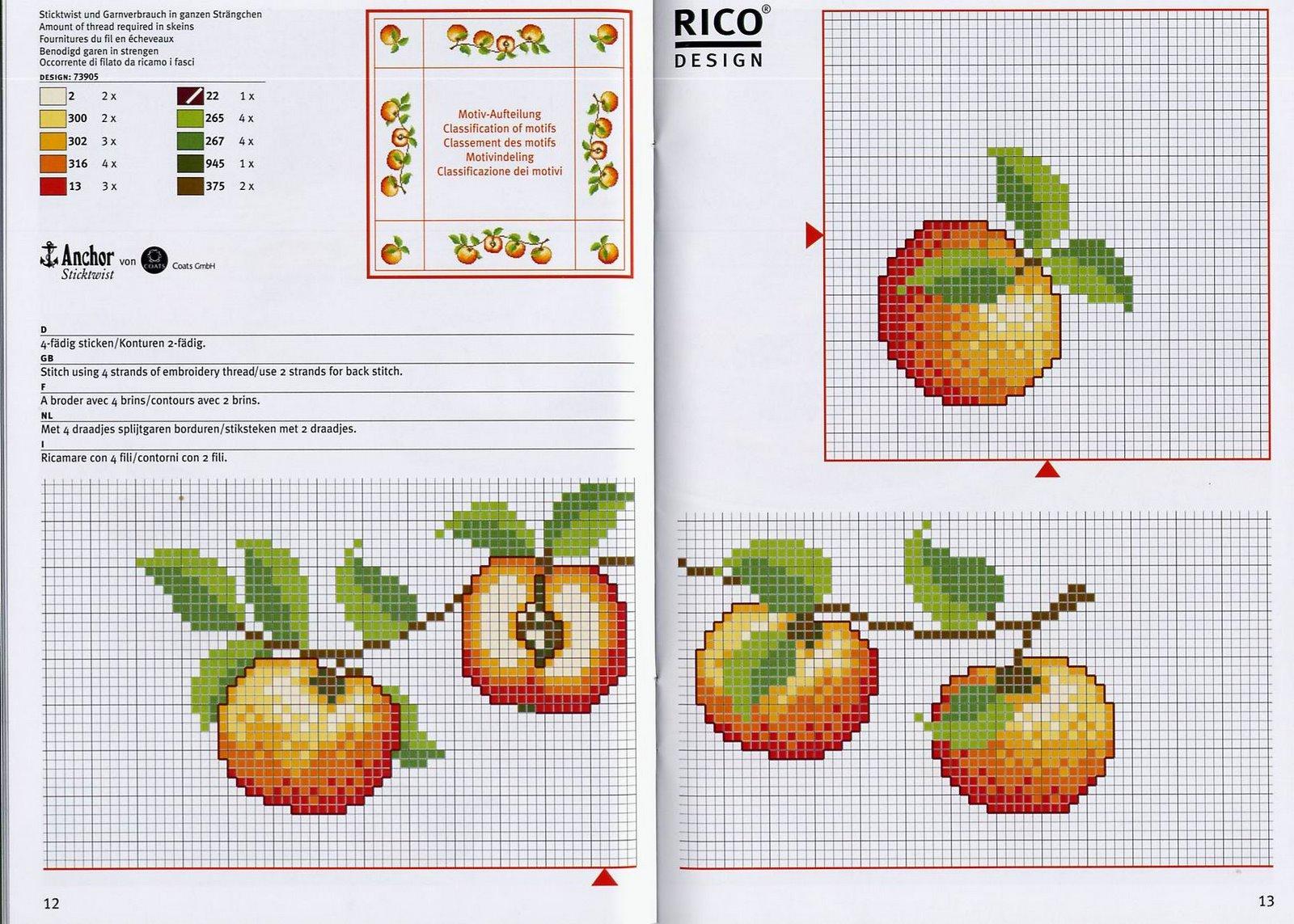Схема вышивки крестом яблоки 26