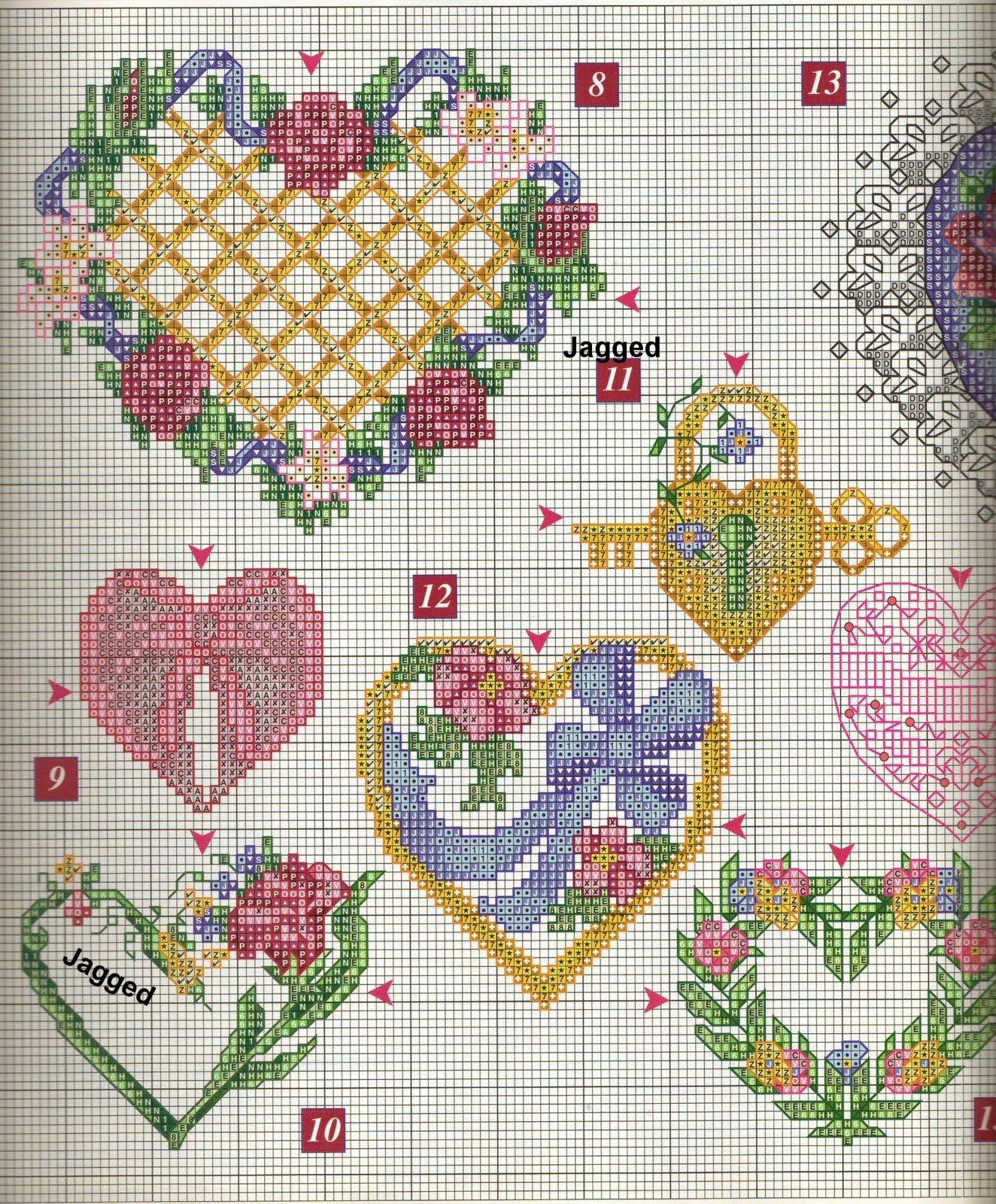 Вышиваем романтичные сердечки, схемы вышивки. свой цитатник или сообщество!  Много, много сердечек можно посмотреть в...