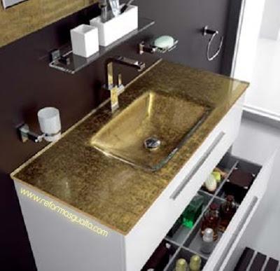 Encimera lavabo de cristal dorado reformas guaita - Encimera lavabo cristal ...