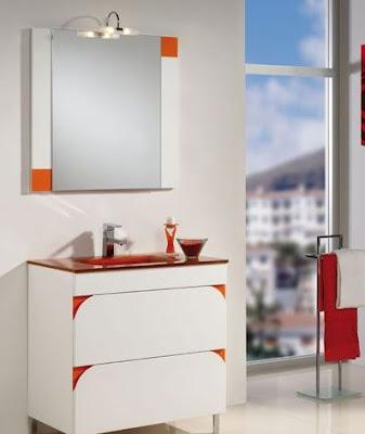 Espejo baño naranja: mueble de baño con lavabo marmol y espejo mdf ...