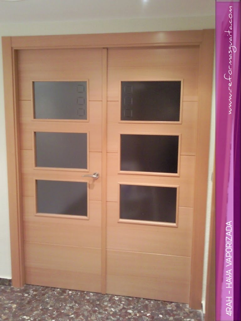 Puertas 4rah en haya vaporizada reformas guaita for Cristales translucidos para puertas