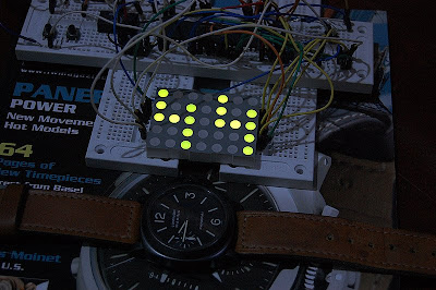 Big Green 5x7 Led Dot Matrix Clock