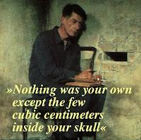 John Hurt i filmen 1984 (1984), med citat av George Orwell