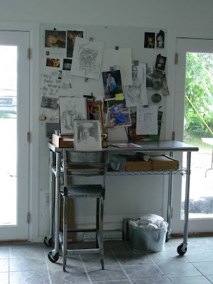 Art studio of artist Shannon Christensen, which she created in her two-car garage